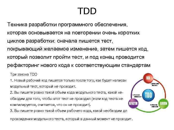 TDD Техника разработки программного обеспечения, которая основывается на повторении очень коротких циклов разработки: сначала