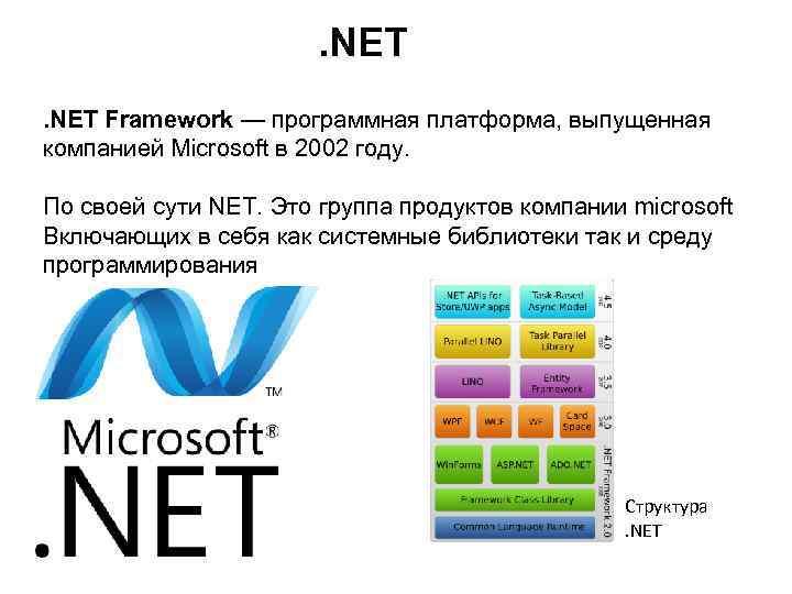 . NET Framework — программная платформа, выпущенная компанией Microsoft в 2002 году. По своей