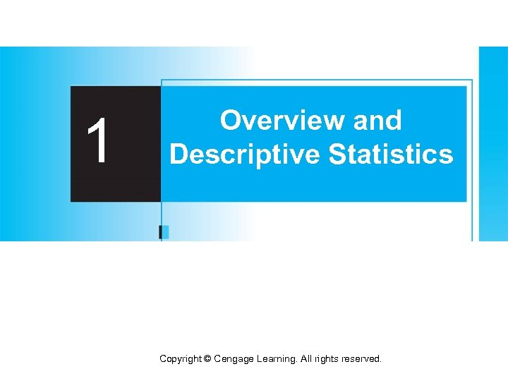 1 Overview and Descriptive Statistics Copyright © Cengage Learning. All rights reserved.