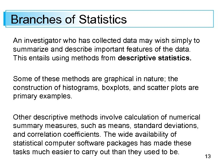 Branches of Statistics An investigator who has collected data may wish simply to summarize