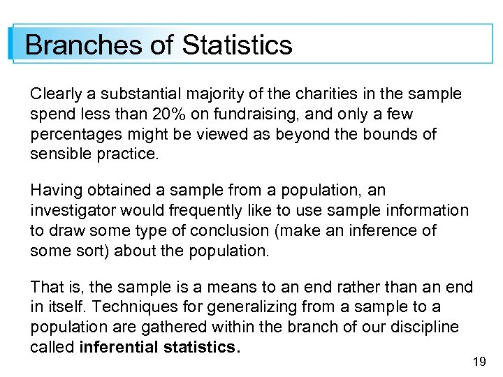 Branches of Statistics Clearly a substantial majority of the charities in the sample spend