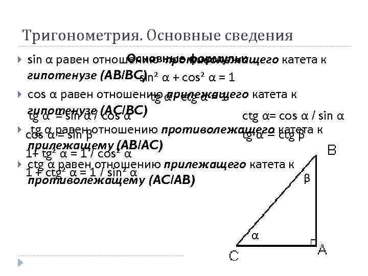 Тригонометрия. Основные сведения Основные формулы: sin α равен отношению противолежащего катета к гипотенузе (AB/BC)