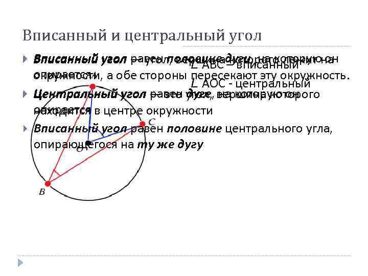 Вписанный и центральный угол равен половине – вписанный Вписанный угол — угол, вершинадуги, на