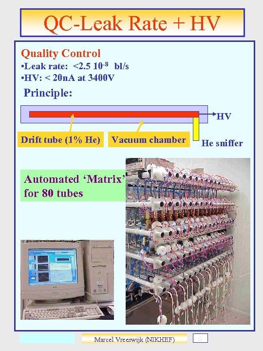 QC-Leak Rate + HV Quality Control • Leak rate: <2. 5 10 -8 bl/s