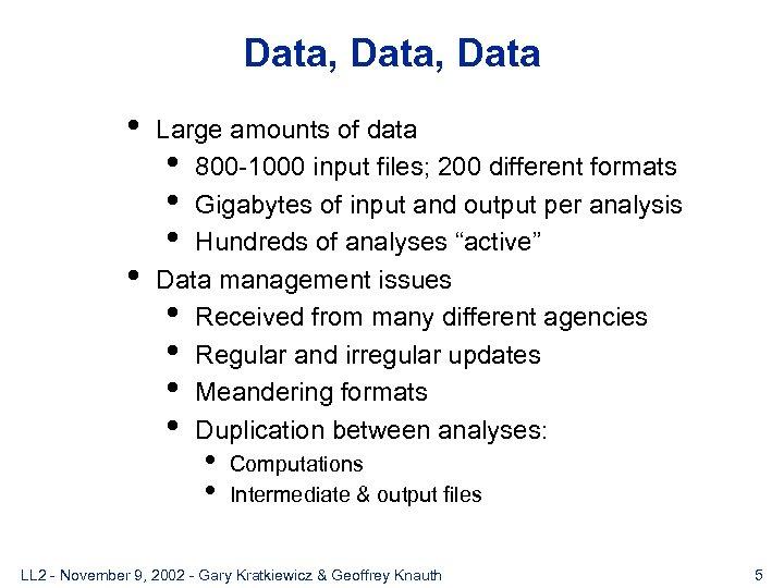 Data, Data • • Large amounts of data • 800 -1000 input files; 200