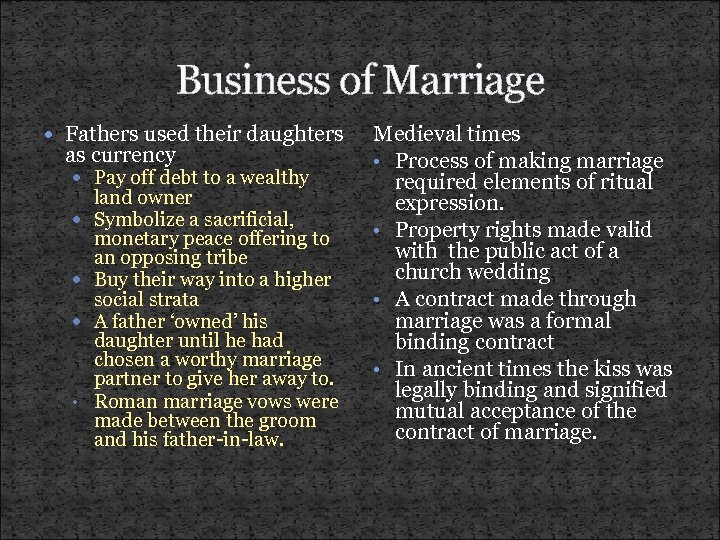 Business of Marriage Fathers used their daughters as currency Pay off debt to a