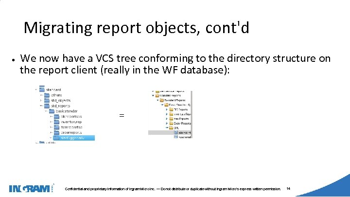 1405002 Migrating report objects, cont'd ● We now have a VCS tree conforming to
