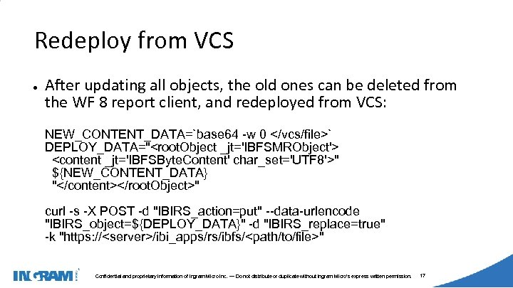 1405002 Redeploy from VCS ● After updating all objects, the old ones can be