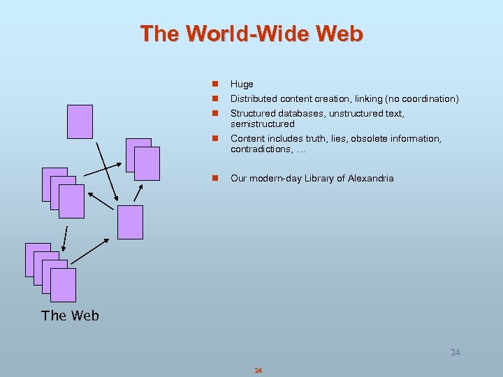 The World-Wide Web n Huge n Distributed content creation, linking (no coordination) n Structured