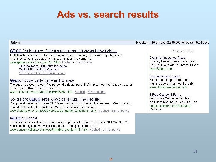 Ads vs. search results 31 31