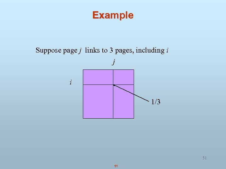 Example Suppose page j links to 3 pages, including i j i 1/3 51
