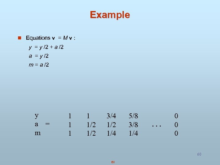 Example n Equations v = M v : y = y /2 + a