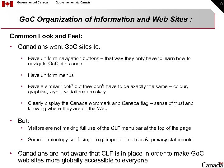 Government of Canada Gouvernement du Canada Go. C Organization of Information and Web Sites