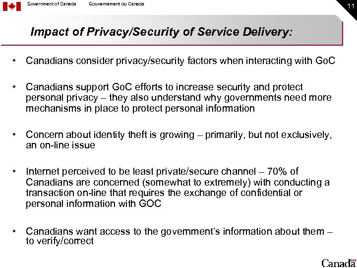 Government of Canada Gouvernement du Canada Impact of Privacy/Security of Service Delivery: • Canadians