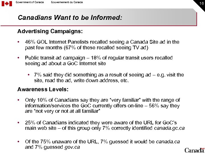 Government of Canada Gouvernement du Canada Canadians Want to be Informed: Advertising Campaigns: •