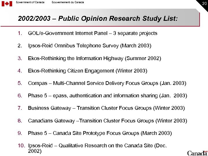 Government of Canada Gouvernement du Canada 2002/2003 – Public Opinion Research Study List: 1.
