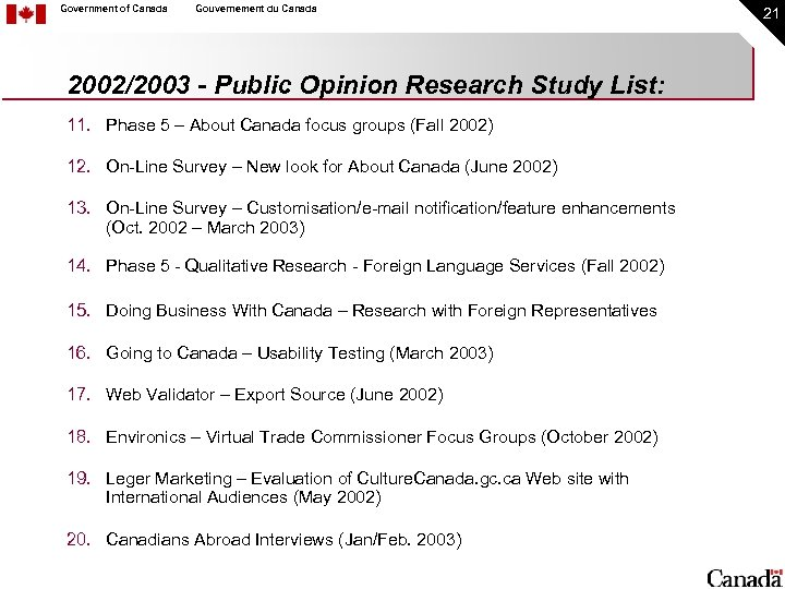 Government of Canada Gouvernement du Canada 2002/2003 - Public Opinion Research Study List: 11.