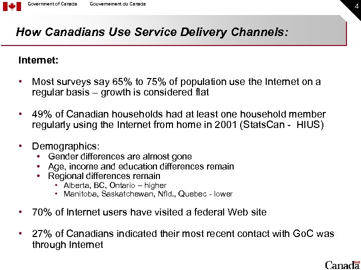 Government of Canada Gouvernement du Canada How Canadians Use Service Delivery Channels: Internet: •