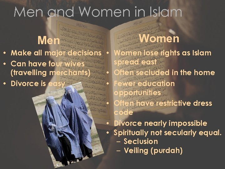Men and Women in Islam Men Women • Make all major decisions • Women