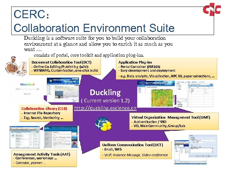 CERC: Collaboration Environment Suite Duckling is a software suite for you to build your