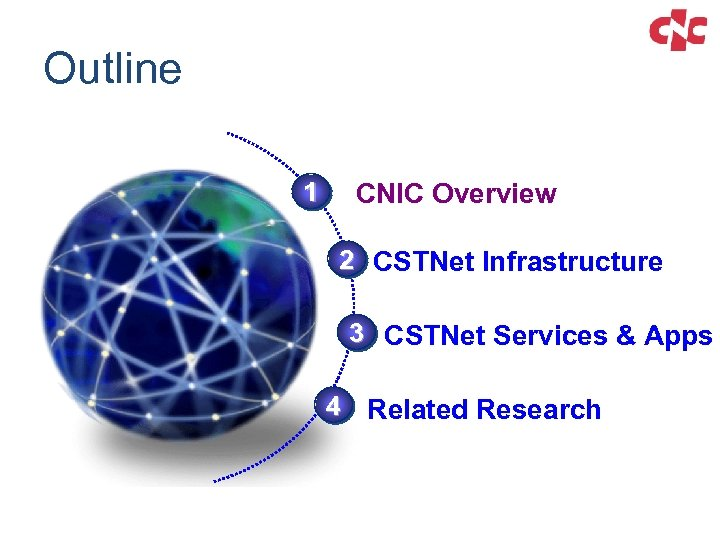 Outline 1 CNIC Overview 2 CSTNet Infrastructure 3 CSTNet Services & Apps 4 Related