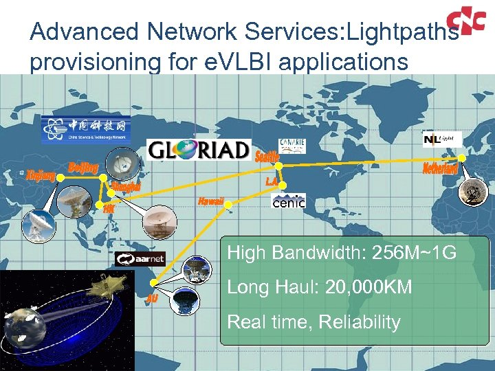 Advanced Network Services: Lightpaths provisioning for e. VLBI applications High Bandwidth: 256 M~1 G