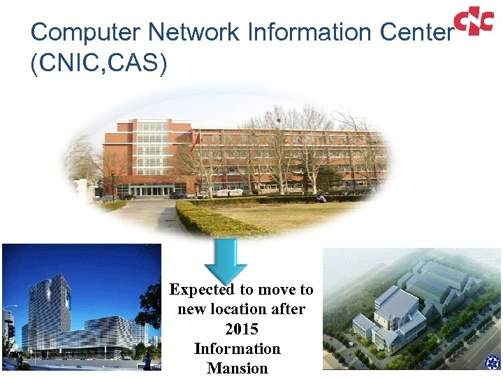 Computer Network Information Center (CNIC, CAS) Expected to move to new location after 2015