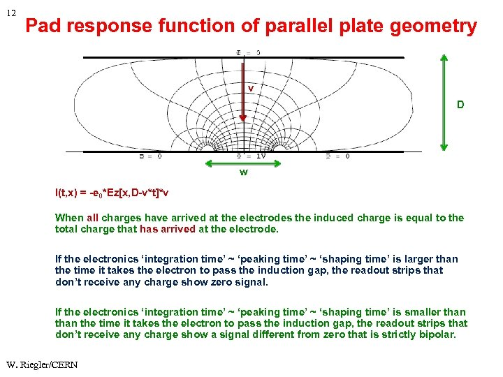 12 Pad response function of parallel plate geometry v D w I(t, x) =