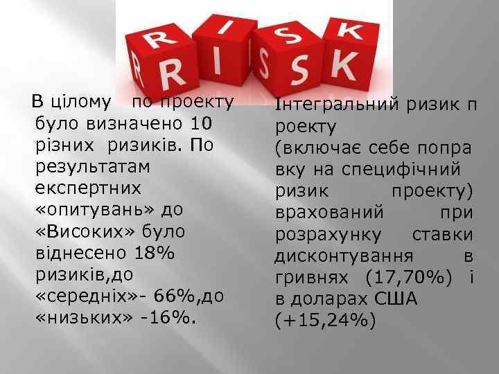 В цілому по проекту було визначено 10 різних ризиків. По результатам експертних «опитувань»