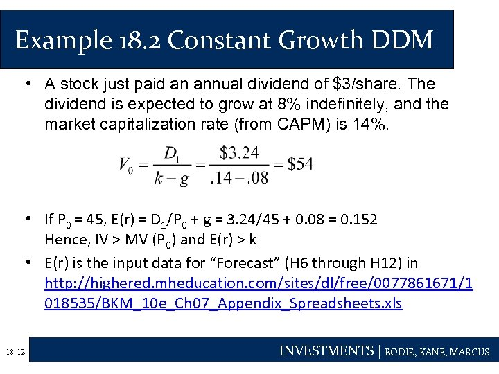 Example 18. 2 Constant Growth DDM • A stock just paid an annual dividend