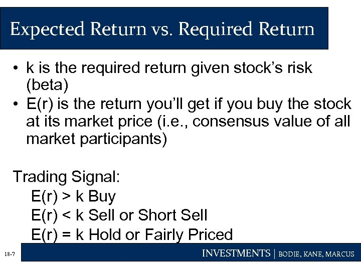 Expected Return vs. Required Return • k is the required return given stock's risk