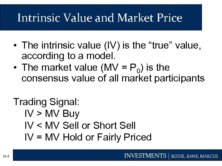 """Intrinsic Value and Market Price • The intrinsic value (IV) is the """"true"""" value,"""