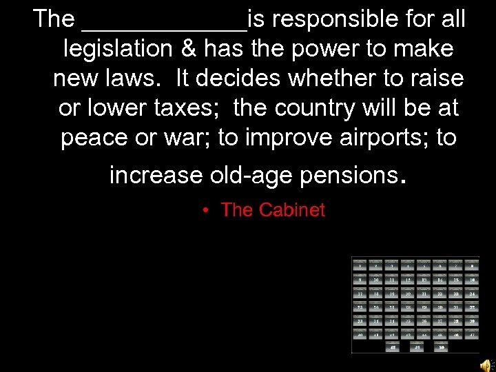 The ______is responsible for all legislation & has the power to make new laws.