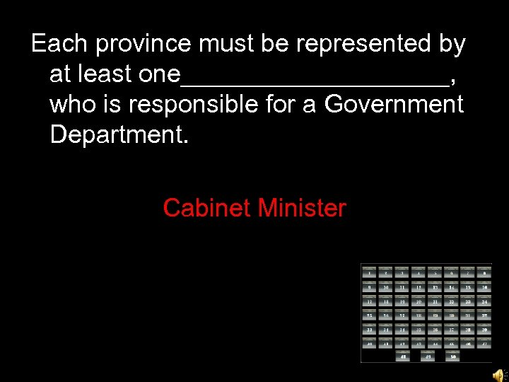 Each province must be represented by at least one__________, who is responsible for a