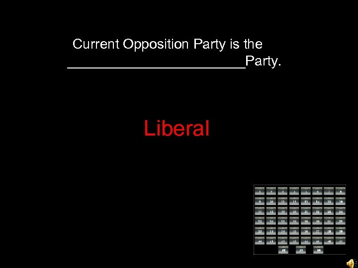 Current Opposition Party is the ____________Party. Liberal