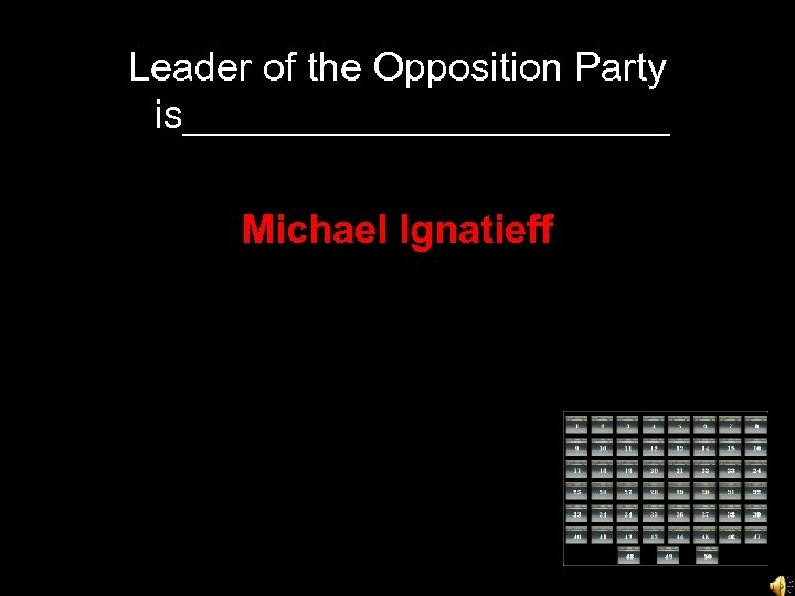 Leader of the Opposition Party is___________ Michael Ignatieff