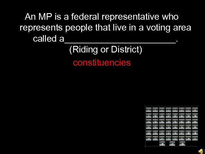 An MP is a federal representative who represents people that live in a voting