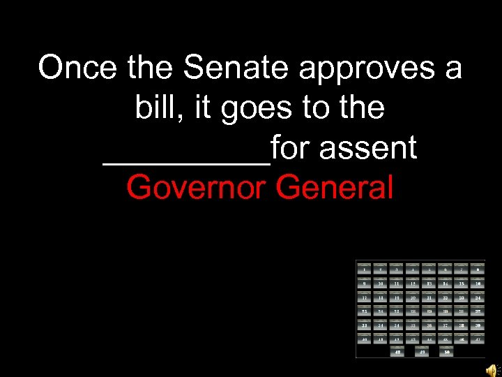Once the Senate approves a bill, it goes to the _____for assent Governor General