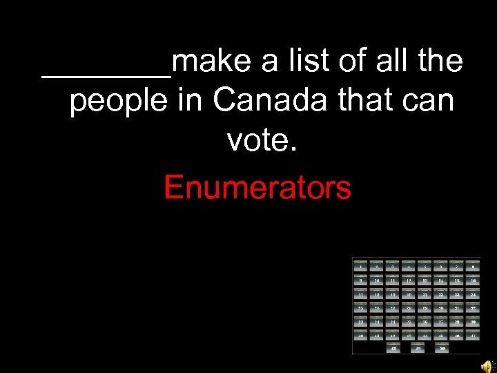 _______make a list of all the people in Canada that can vote. Enumerators
