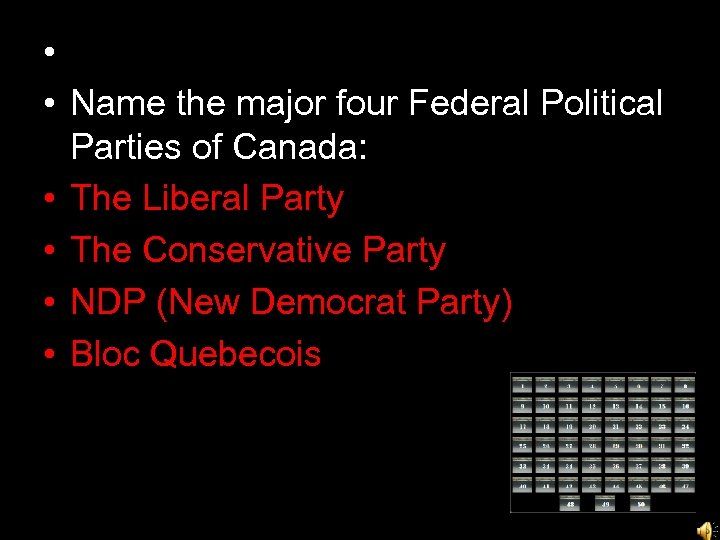 • • Name the major four Federal Political Parties of Canada: • The