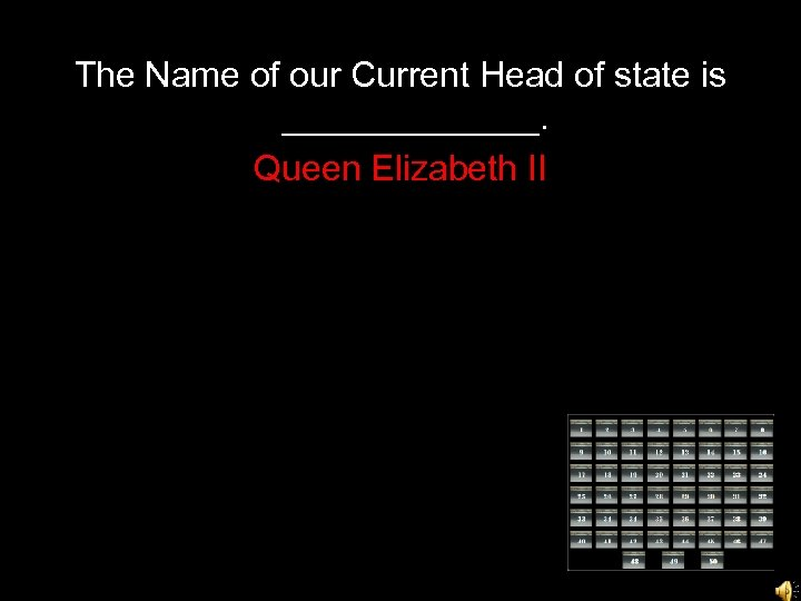 The Name of our Current Head of state is _______. Queen Elizabeth II