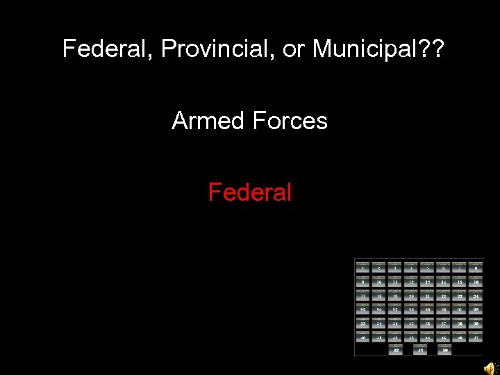 Federal, Provincial, or Municipal? ? Armed Forces Federal