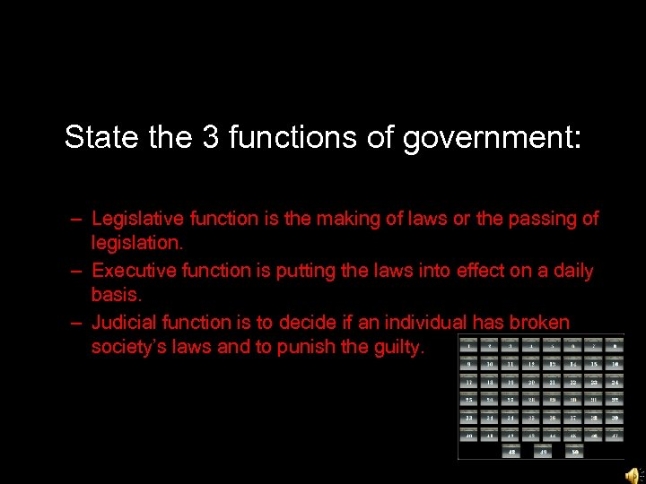 State the 3 functions of government: – Legislative function is the making of laws