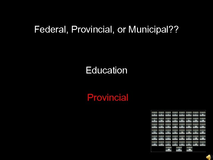 Federal, Provincial, or Municipal? ? Education Provincial