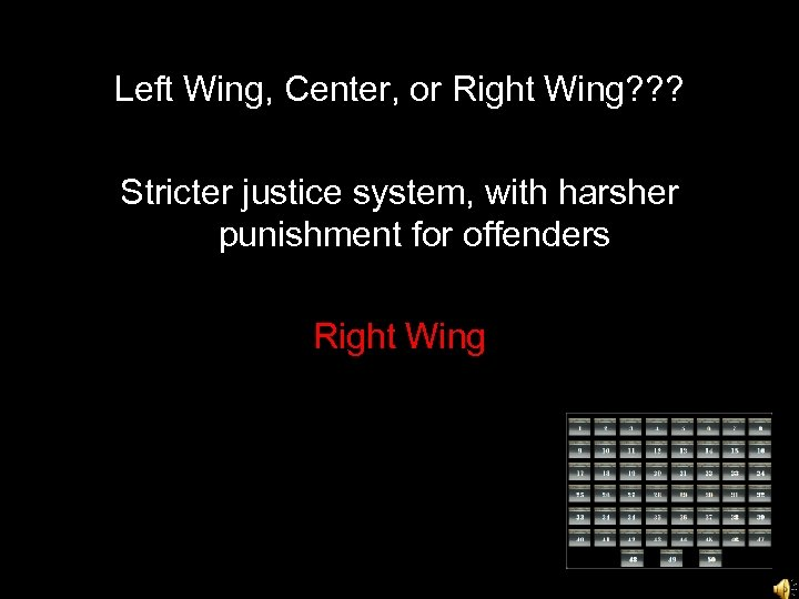 Left Wing, Center, or Right Wing? ? ? Stricter justice system, with harsher punishment