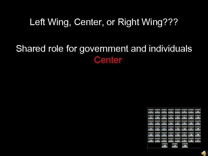 Left Wing, Center, or Right Wing? ? ? Shared role for government and individuals