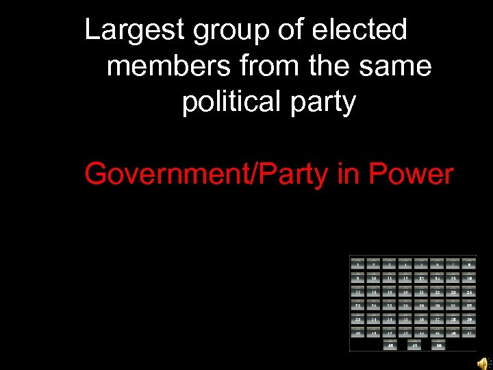 Largest group of elected members from the same political party Government/Party in Power