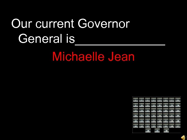 Our current Governor General is_______ Michaelle Jean