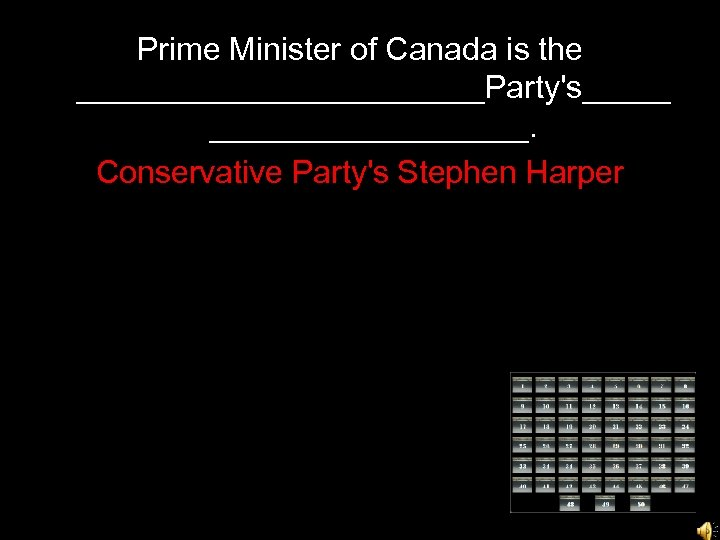 Prime Minister of Canada is the ____________Party's_________. Conservative Party's Stephen Harper