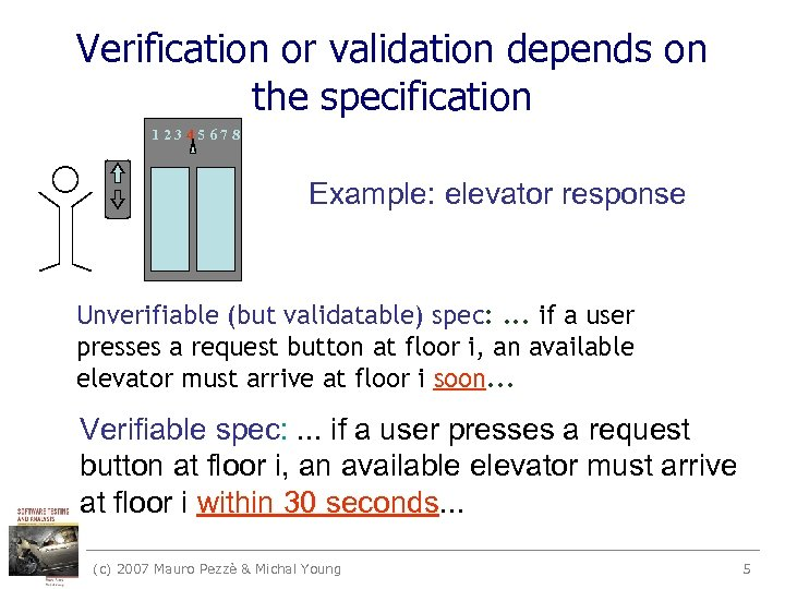 Verification or validation depends on the specification 12345678 Example: elevator response Unverifiable (but validatable)